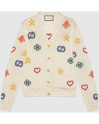 Gucci Cardigan aus Baumwoll-Leinen und Jacquard mit Symbolen - Weiß