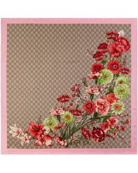 Gucci GG Bouquets Print Silk Scarf - Natural