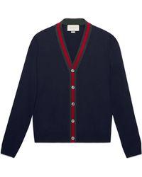 Gucci Wool Cardigan With Web - Blue
