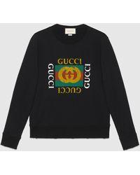 Gucci Übergroßer Pullover mit Logo - Schwarz