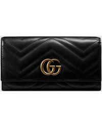 Gucci 【公式】 (グッチ)〔GGマーモント〕 コンチネンタルウォレットブラック レザーブラック
