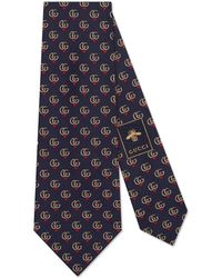 Gucci Double G And Hearts Silk Tie - Blue