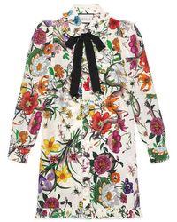 Gucci - Flora Snake Print Dress - Lyst