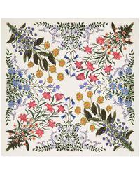 Gucci New Flora Print Silk Scarf - White