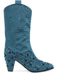 Gucci Boot With Crystals - Blue