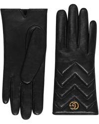Gucci Gants gg marmont en cuir à chevrons - Noir
