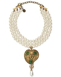 Gucci - Pearl Necklace With Heart Pendant - Lyst
