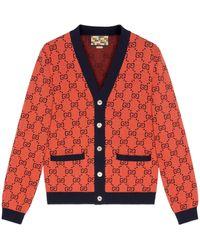 Gucci Cárdigan de algodón y lana GG Multicolor - Naranja