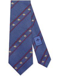 Gucci Corbata de seda con tribanda Web y abeja - Azul