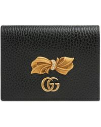 Gucci Leather Card Case Wallet With Bow - Black