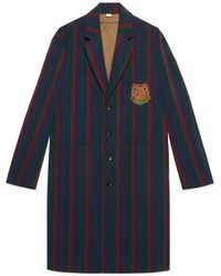 Gucci Striped Wool Coat With Crest - Green