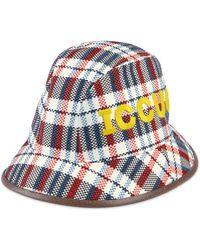 Gucci Cappello fedora ICCUG a quadri con pelle - Blu