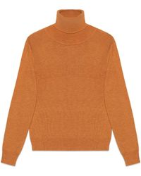 Gucci Wool Silk Turtleneck - Orange