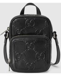 Gucci 【公式】 (グッチ)GGエンボス ミニバッグブラック レザーブラック