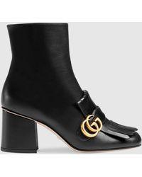 Gucci ブラック GG アンクル ブーツ - マルチカラー