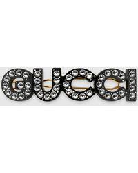 """Gucci 【公式】 (グッチ)クリスタル """""""" ヘアクリップゴールド メタルundefined - メタリック"""