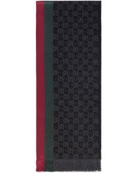 Gucci Strickschal mit gg jacquard, webstreifen und fransen - Grau