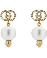 Gucci Interlocking G Earrings With Pearl - Metallic