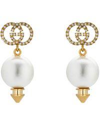 Gucci Pendientes con GG y perla - Metálico
