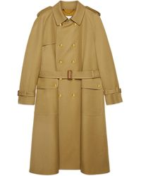 Gucci Wool Trench Coat With Boutique - Natural