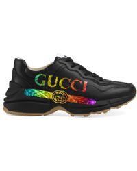 Gucci Rhyton Logo Sneakers - Black