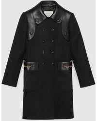 Gucci 【公式】 (グッチ)レザー ディテール付き ウール ミニコートブラックブラック