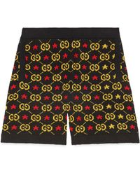 Gucci Short jacquard en coton GG avec étoiles - Noir