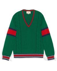 Gucci Jersey de cuello en V de punto de cable - Verde