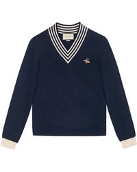 Gucci V-neck Wool Knit With Bee - Blue