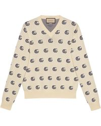 Gucci Jersey jacquard algodón de punto GG - Blanco