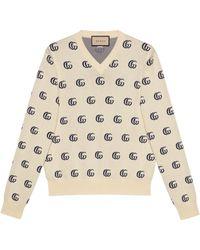 Gucci Pull en maille de coton jacquard GG - Blanc