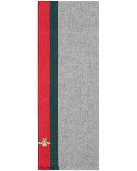 Gucci - Sciarpa in cashmere e lana con dettaglio Web - Lyst