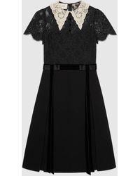 Gucci グッチカラー(襟)付き レース&ウール ドレス - ブラック
