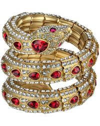 Gucci - Triple Wrap Snake Bracelet With Crystals - Lyst