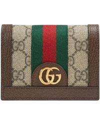 Gucci Portefeuille porte-cartes Ophidia GG - Marron
