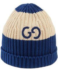 Gucci Strickmütze aus Baumwolle mit GG - Weiß
