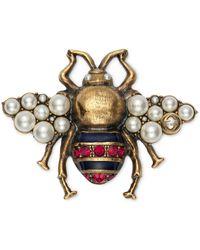 Gucci Bienen Brosche mit Kristallen und Perlen - Mettallic
