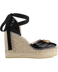 Gucci Leather Espadrille Platform Shoes - Black