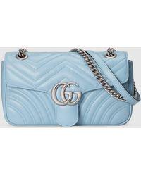 Gucci Kleine GG Marmont Schultertasche - Blau