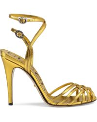 Gucci - Sandalo in pelle metallizzata - Lyst