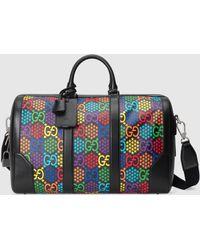 Gucci Mittelgroße Reisetasche mit GG Psychedelic - Schwarz