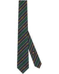 Gucci Corbata de seda de jacquard con cadena con GG - Verde