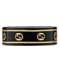 Gucci Icon Ring With Yellow Gold Interlocking G - Black