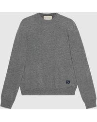 Gucci 【公式】 (グッチ)GG付き カシミア セーターグレーグレー