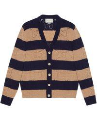 Gucci Cárdigan de lana a rayas con GG de punto - Marrón