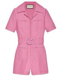 Gucci - Wool Silk Short Belted Jumpsuit - Lyst