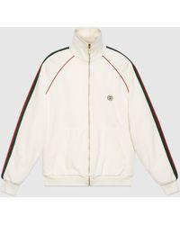 Gucci グッチウェブ付き ジャージー ジップアップ スウェットシャツ - ホワイト