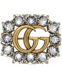 Gucci Broche de Doble G de Metal con Cristales - Metálico