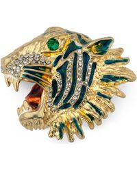 Gucci - Gold-plated, Crystal And Enamel Brooch Gold One Size - Lyst