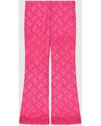 Gucci Schlaghose mit GG Blumen Spitze - Pink